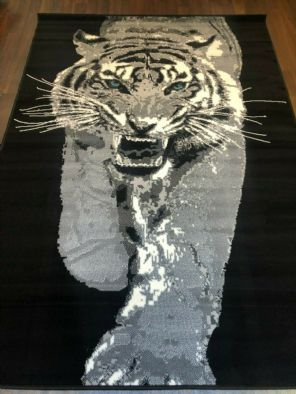 MODERN RUGS 8X5FT 160X230CM WOVEN BLACK/GREY TOP QUALITY STUNNING TIGER DESIGN..